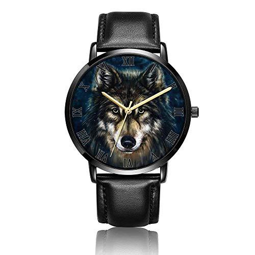 Reloj de Pulsera Personalizado con Cabeza de Lobo, Reloj de Pulsera de Cuero Negro de Moda de Cuarzo analógico Unisex para Mujeres y Hombres