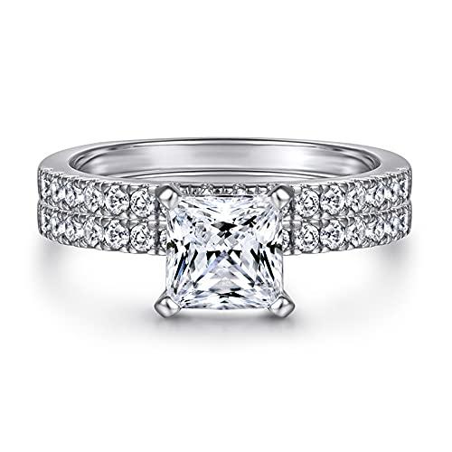 ZRFNFMA Anillo de plata de ley 925 para mujer, diseño de princesa personalidad, 18 K, dos en uno, anillo de boda, compromiso, suministros de joyería de plata, 8 #