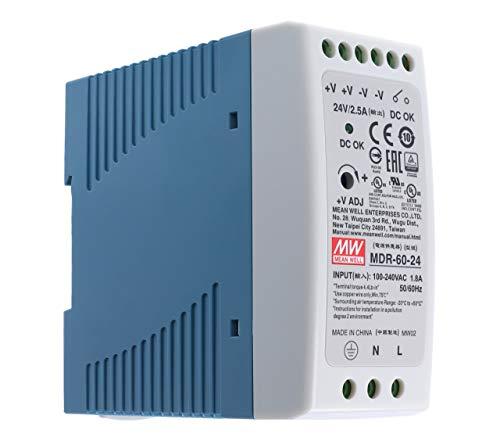 ? 24Vdc 2,5A 60 Watt, Mean Well MDR-60-24 DIN-Rail LED Hutschienen Netzteil