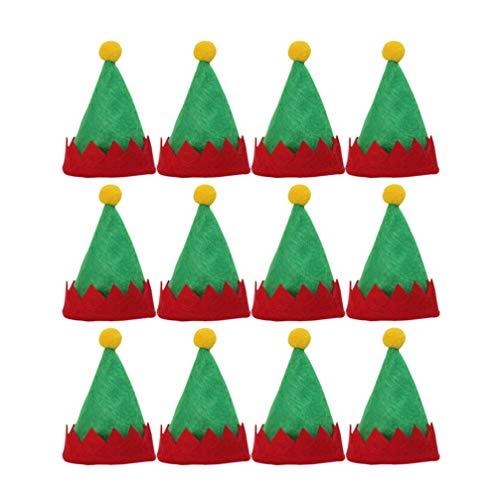 Amosfun Mini Cappelli Rossi da Babbo Natale Mini Cappelli da Elfo di Design Cappelli Lecca-Lecca decori Simpatici Cappelli di imballaggio di Caramelle Non tessute Forniture Natalizie 12 Pezzi