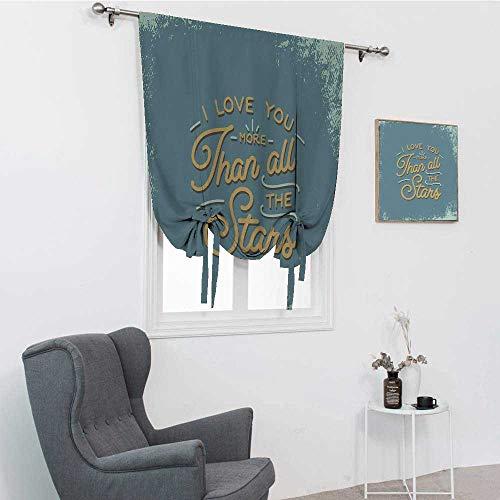 I Love You More Cortinas para sala de estar, letras vintage y aspecto grunge con texto romántico que dice amor afecto persianas romanas para ventana, color azul pizarra, 88,9 x 162,6 cm