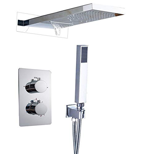IOMLOP Sistema de Ducha Grifo de DuchaNegro Mate de LujoRectángulo LED Juego de Ducha de Lluvia Salida de Agua de 3 vías Ducha de baño Experiencia cómoda, Cromo