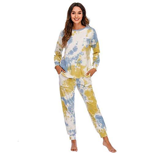 YZY Conjunto de pijamas de 2 piezas para mujer, estampado casual, manga larga y pantalones largos, ropa de dormir para mujer, ropa de dormir para mujer (color: amarillo-azul, tamaño: XL)