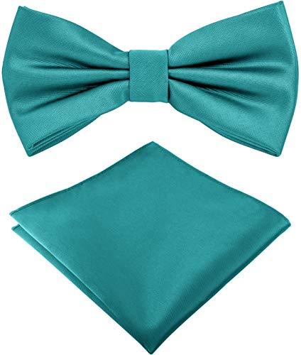 Helido Fliege für Herren mit Einstecktuch, 12 verschiedenfarbige Accessoires-Sets passend zu Hemd und Anzug oder Smoking + Geschenkbox (Türkis)