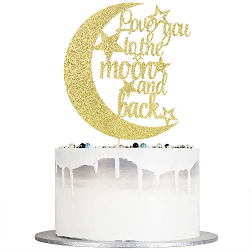 Auteby Love You To The Moon and Back Cake Topper - Gold Glitter Cake Decoration for Wedding Party