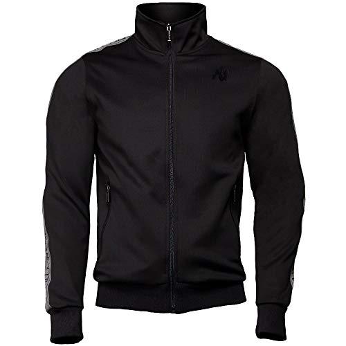 GORILLA WEAR Fitness Jacke Herren - Wellington Track Jacket - Zipper Sweatshirt Bodybuilding Black 4XL