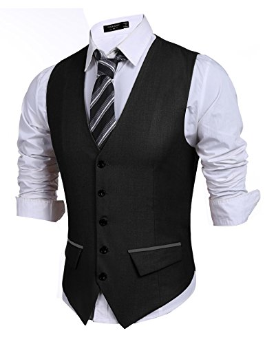 Fubotevic Mens Printed Casual Sleeveless Slim Fit Single Breasted Waistcoat Jacket Vests