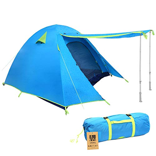 Weanas Professional Backpacking Tent 2 3 4 Person 3 Season Weatherproof Double Layer Large Space Aluminum Rod for Outdoor Family Camping Hunting Hiking Adventure Travel (Azure, 3-4 Person)