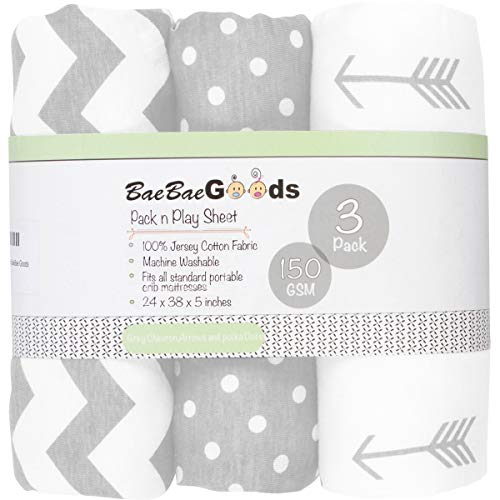 Pack n Play Sheets – Pack and Play Sheets 3 Pack – 100% Super Soft Jersey...