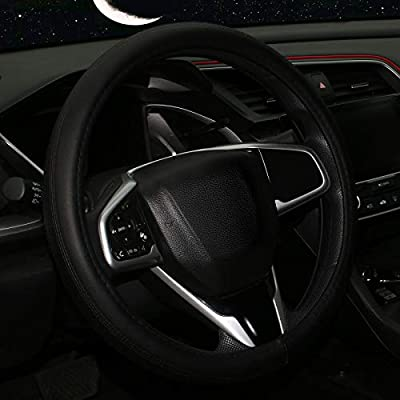 Steering Wheel Cover-Black 15 inch Breathable Anti-Slip Microfiber Leather Auto Steering Wheel Protector Accessories Universal Fit for Sedan,SUV,Truck,Minivans,Car Accessoires