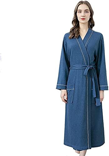 Pijamas de mujer camisón de punto bata de baño de manga larga pijama con bolsillo para mujer traje de encaje, azul, XL