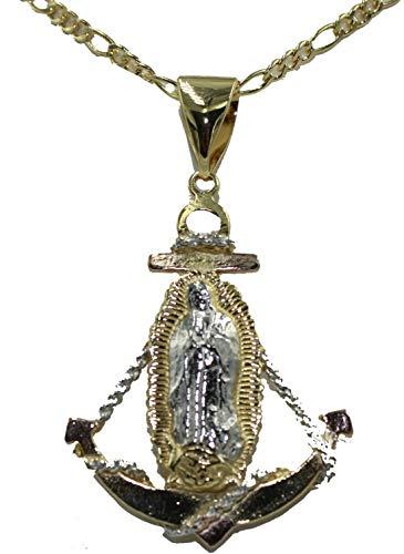 Diamantados of Florida Virgen de Guadalupe Ancla Medalla - Medalla de Ancla de Nuestra Señora de Guadalupe 18 K chapada en Oro con Cadena de 61 cm