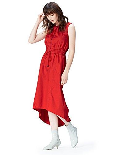 find. Kleid Damen ärmellos, tailliert, mit Reißverschluss und rundem Ausschnitt, Rot (Red), 34...