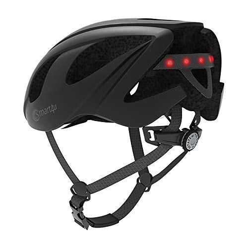 Smart4u SH55M Bike Helmet with 6 LED taillight & Turn Indicators,SOS Alert,Bluetooth Phone Scooter Helmet, Bicycle Helmet 55-59cm (Black)