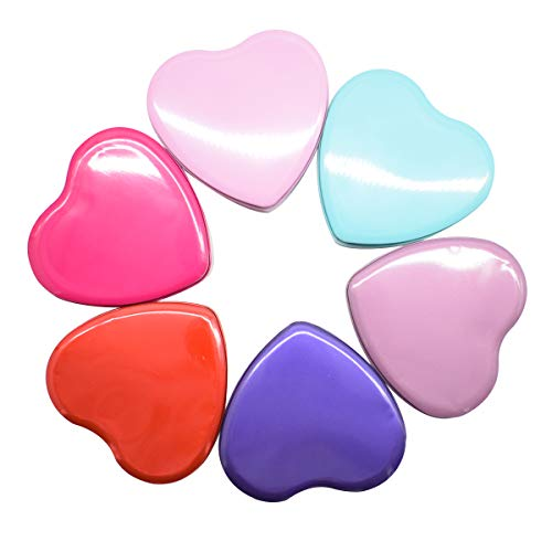 Zuzer Forma de Corazon Caja de Lata, 6PCS Caja de Metal Contenedor de Cosméticos para Guardar Cosmetica Dulces(Rojo Rosa Luz Morado Profundo Morado Azul Rosa Roja)