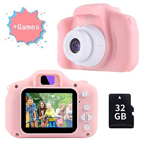 TekHome Cámara de Fotos para Niños con Juegos, 32GB Tarjeta SD y Acollador, Cámara Digital 1080P HD Video, Juguetes Niña 3-10 Años, Regalo Niña Cumpleaños Infantil, Rosa.
