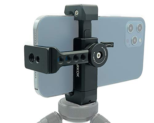 Metal Cold Shoe Phone Tripod Mount, 1/4 Inch Thread, 360 Rotation, Compatible with iPhone 11 12 Pro Max, Tripod Mobile Phone Holder Adapter