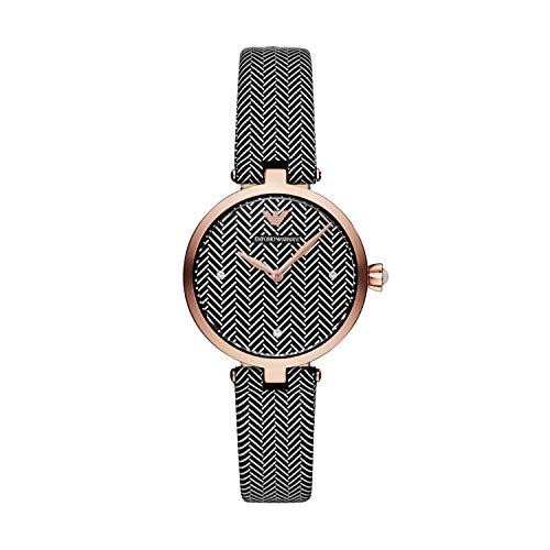 Emporio Armani Damen Analog Quarz Uhr mit Leder Armband AR11237