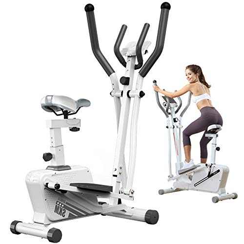 ATGTAOS Máquinas Elípticas Bicicleta Estática, Máquina de Entrenamiento Elíptica, con Monitor LCD y 16 Niveles de Resistencia Suave, para el Hogar Oficina Gimnasio Ejercicio Cardiovascular