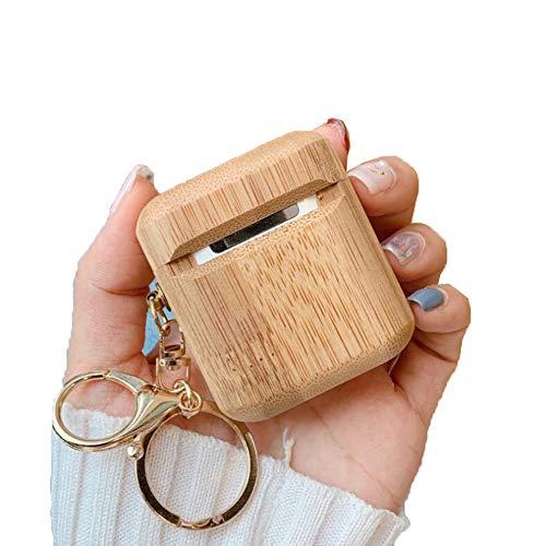 Cestbon Cubierta De Madera Natural Cubierta del Caso para Apple y Airpods la Manga de Carga para TWS I10 I12 Anti-perdida-Gancho para Paquetes de Accesorios para Airpods,Beige