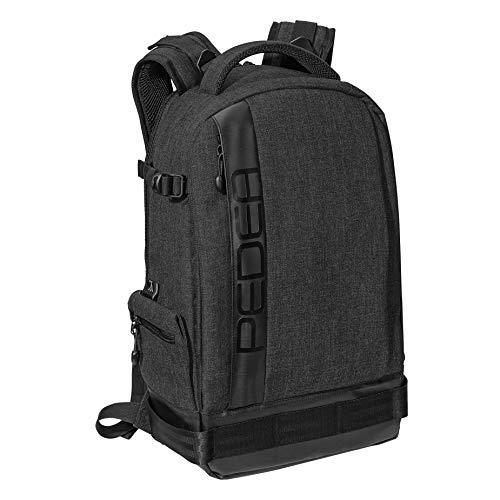 PEDEA DSLR-Kameratasche Fashion Fototasche für Spiegelreflexkameras mit wasserdichtem Regenschutz, Tragegurt und Zubehörfächern (Rucksack, schwarz)