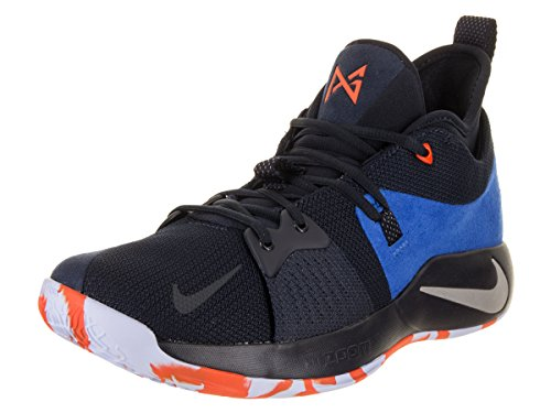 NIKE Men's PG 2 Basketball Shoes (9.5, Black Blue -M)