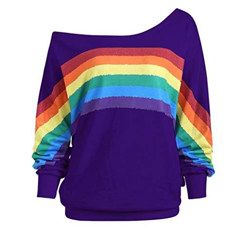 ESAILQ Frau Lose Langarm-Regenbogen-Druck-Pullover-Sweatshirt(M,Lila)