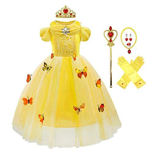 MYRISAM Disfraz Cenicienta Nia Princesa Manga Corta Cinderella Dress Traje de Carnaval Halloween Navidad Fiesta Cumpleaos Aniversario Cosplay Mariposa Costume con Accesorios 4-5 aos