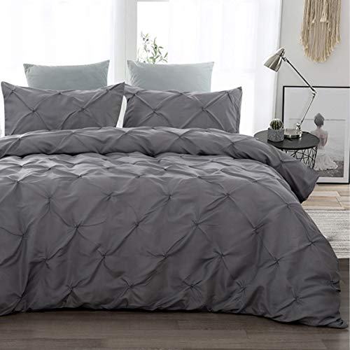 3 Pieces Pinch Pleated Duvet Cover Double Size Soft Microfiber Pintuck Quilt Cover with Zipper Closure, Hypoallergenic Pintuck Decor Bedding Set Dark Grey 200x200cm