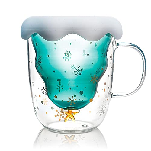 LCK Taza de Cristal de Doble Capa Star Wish Cup Taza de Vidrio de Navidad Cute Little StarGlass Coffee Cup