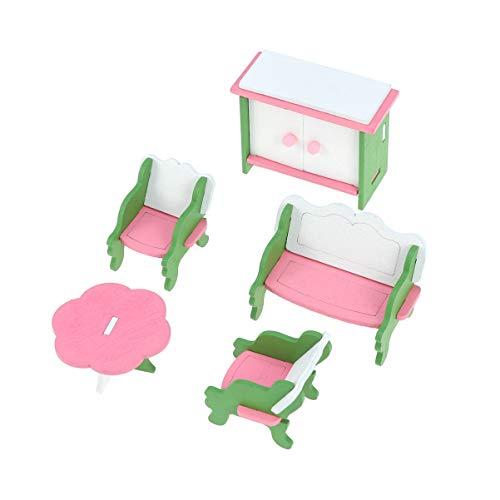 TOYANDONA Kit di Mobili per Case delle Bambole in Legno Mini Mobile Sedie da Spiaggia Accessori da Tavolo in Miniatura 5 Pezzi