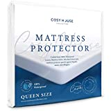 Cosy House Luxury Bamboo Mattress Protector - Waterproof, Hypoallergenic & Ultra Soft Breathable Fitted Mattress Cover for Bed - PVC, Phthalate & Vinyl-Free (Queen)