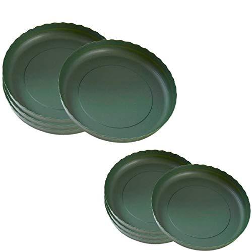 DBAILY Sottovasi Plastica, 22 Pezzi Sottovaso per Fiori in Plastica Resistente Sottovaso Rotondo per Piante Verde per Resina PP Pallet Rotondo Resistente Vassoio Piccolo(11cm,15cm)