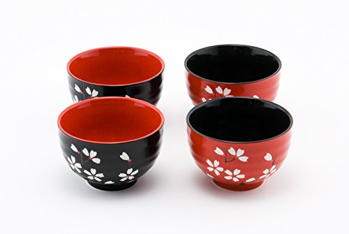 Hinomaru Collection Japanese Traditional Ceramic Rice Bowl Set of 4 Red and Black Cherry Blossom Sakura Decorative Gift Pack Multi Purpose Attractive Design