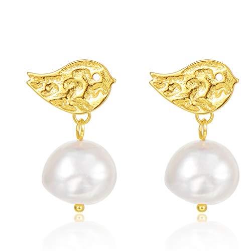 Pendientes Pendientes de novia delicada for los pendientes de la perla de la boda for las mujeres, 925 joyería de plata de ley de agua dulce pendiente cuelgan perlas cultivadas de gota Aretes para Muj