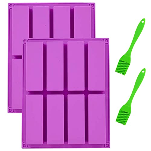 XINCHEN - Molde rectangular de silicona de alta calidad, 2 piezas, molde rectangular de silicona de alta calidad, trufa, pan, muffin, brownie.