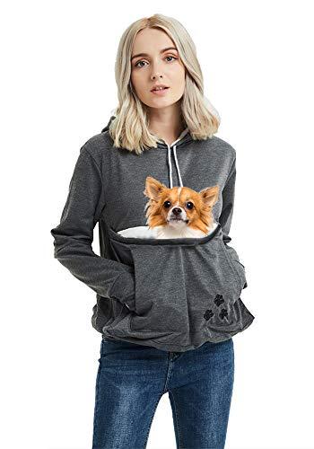 Unisex Pet Carrier Hoodie Cat Dog Pouch Holder Sweatshirt Shirt Top L Dark Grey