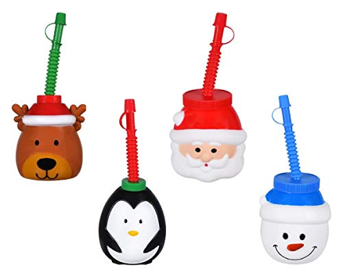 Children's Christmas Plastic Tumbler Sipper Cups With Straws - Snowman, Reindeer, Santa Clause, and Penguin - Set of 4 SAFE Kids Drinking Glasses For Travel, Parties, Holiday Events, and More
