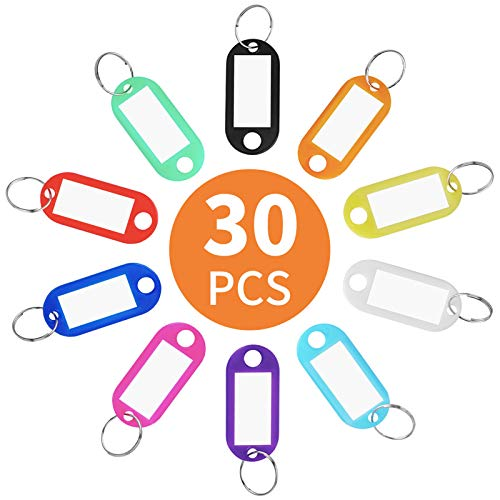 Cuttte 30 Pack Plastic Key Tags, Key Labels with Ring and Label Window, 10 Colors