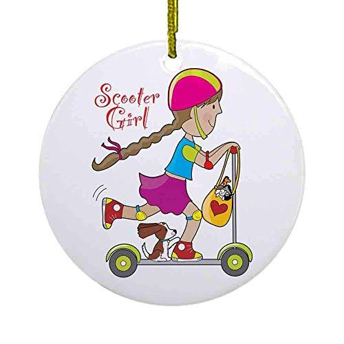 Lplpol Scooter Girl Ornamento, 3 Pulgadas Cerámicas Redondo/Círculo Navidad Ornamento, Decoración Colgante Árbol de Navidad, Ideal