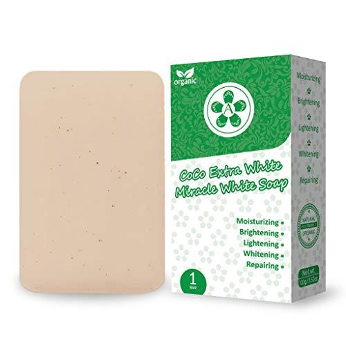 ARBUTEE   ORGANIC CoCo Extra White Brightening Acne Soap-B3 Glutathione Alpha Arbuin-Shea Butter- Removes dead skin cells, dark spots   NO SLS, NO Paraben, Cruelty Free(1 Bar, CoCoWhite+Mesh)