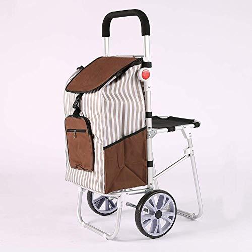 XBR Carrito de Compras con Ruedas, aleación de Aluminio Ligero, sillas Plegables, Carrito de Compras, portátil, 2 Ruedas, Gran Capacidad, Shoppe, f