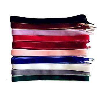 TXIN 10 Pairs Velvet Shoe Laces Flat Shoelaces for Women Girls 10 Colors 120 cm Long Velvet Shoelace
