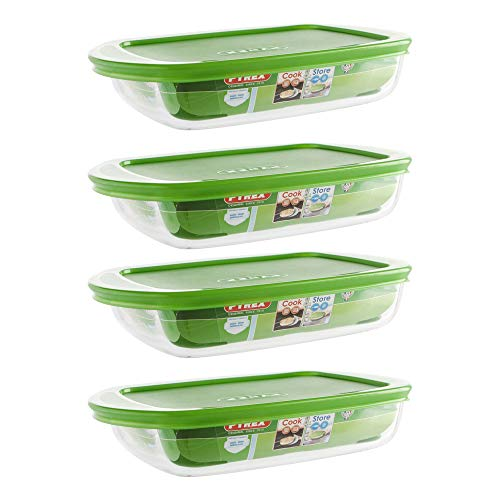 Pyrex Microwave Safe Classic Rectangular Glass Dish Vented Lid 0.75 Litre Green (Pack of 4)