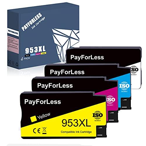 Payforless 953XL Patronen Ersatz für HP 953 XL Multipack Druckerpatronen Kompatibel mit HP Officejet Pro 7720 7730 7740 8710 8715 8718 8720 8725 8728 8730 8740 8210 4er-Pack Schwarz/Cyan/Magenta/Gelb