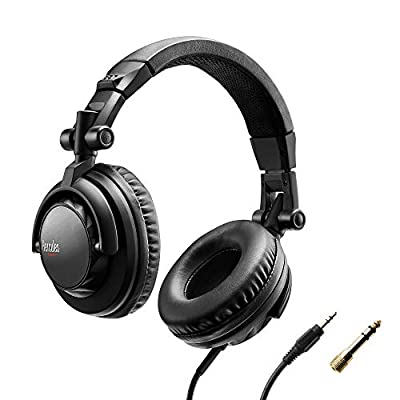 Hercules HDP DJ45: Closed-back headphones for DJs. Foldable, with pivoting earpieces and a 6.6-foot/2-meter cable. Closed-back design keeps out external sounds. Powerful sound output: 60-ohm impedance
