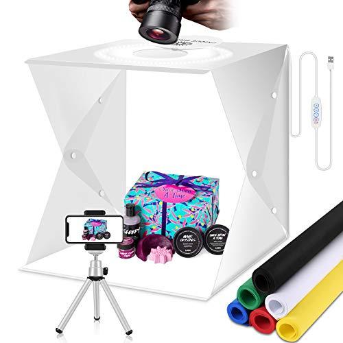 Tende per riprese fotografiche Scatola luminosa portatile dimmerabile per fotografia Scatola luminosa per studio fotografico a LED pieghevole da 30 cm con fondali a 6 colori