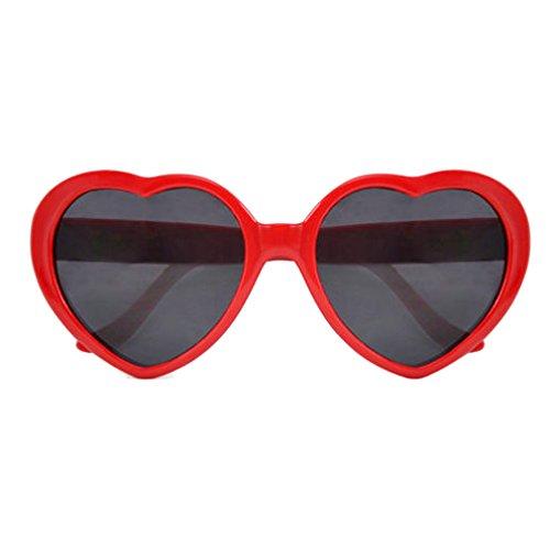 SODIAL (R)Fashion Nette Retro Liebe-Herz-Form Lolita Sonnenbrille Abendkleid-Partei HOT - rot