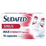 Sudafed Sinus Max Strength Capsules, Fast and Effective Relief of Cold and Flu Symptoms From Day 1, 16 Capsules