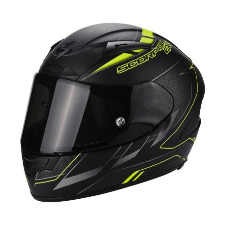 Scorpion Casco Moto EXO-2000 EVO AIR Cup, Black/Chameleon/Fluo Yellow, S